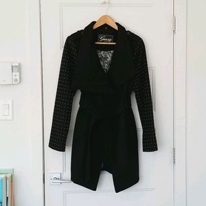 💕Guess Black Trench Coat with Silver Beads